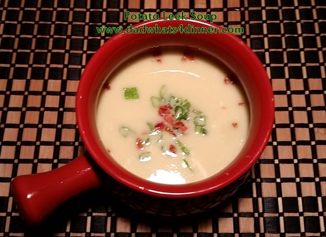 This Potato Leek Soup will hit the spot when it is cold outside. The soup is comfort food at its best! Smooth and creamy! |  www.dadwhats4dinner.com