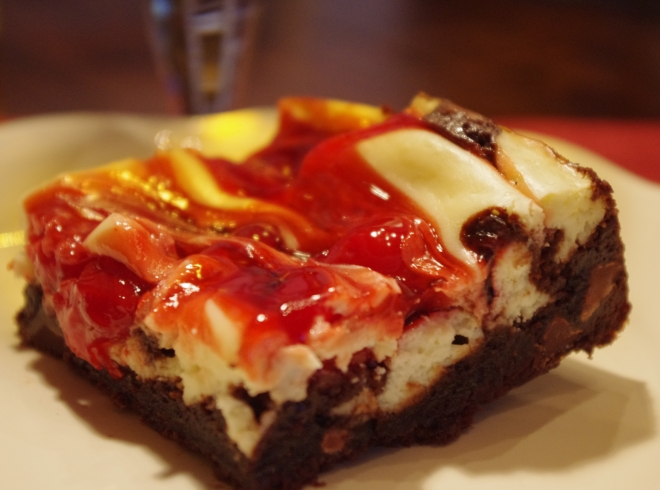 Cherry Marbled Cheesecake Triple Chocolate Brownie dadwhats4dinner.com