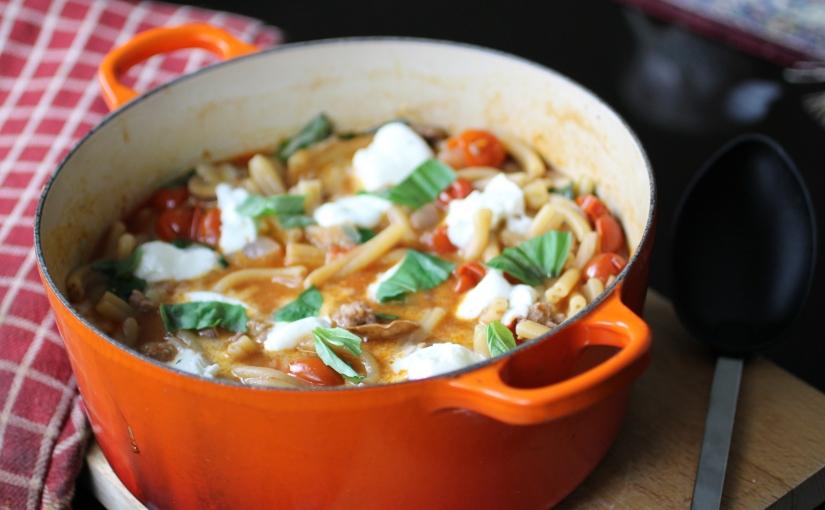 One Pot Sausage, Mushroom and MozzarellaPasta