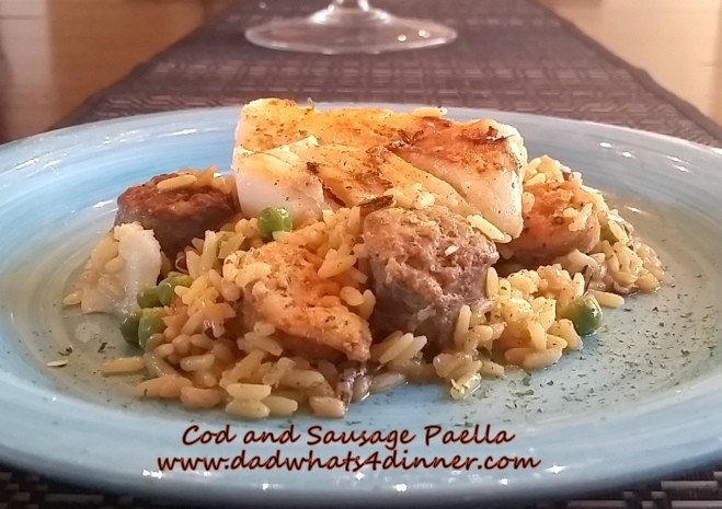 One Skillet Cod and Sausage Paella | www.dadwhats4dinner.com