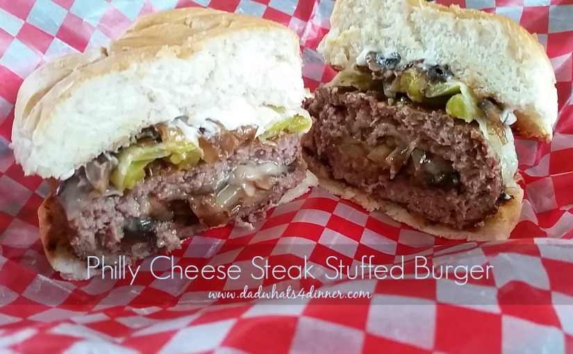 Philly Cheese Steak Stuffed Burgers