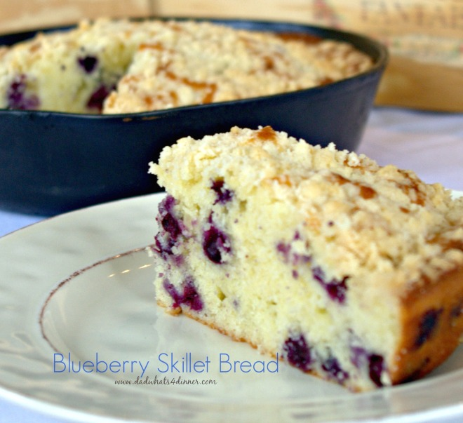 Blueberry Sour Creme Skillet Bread with Streusel Topping